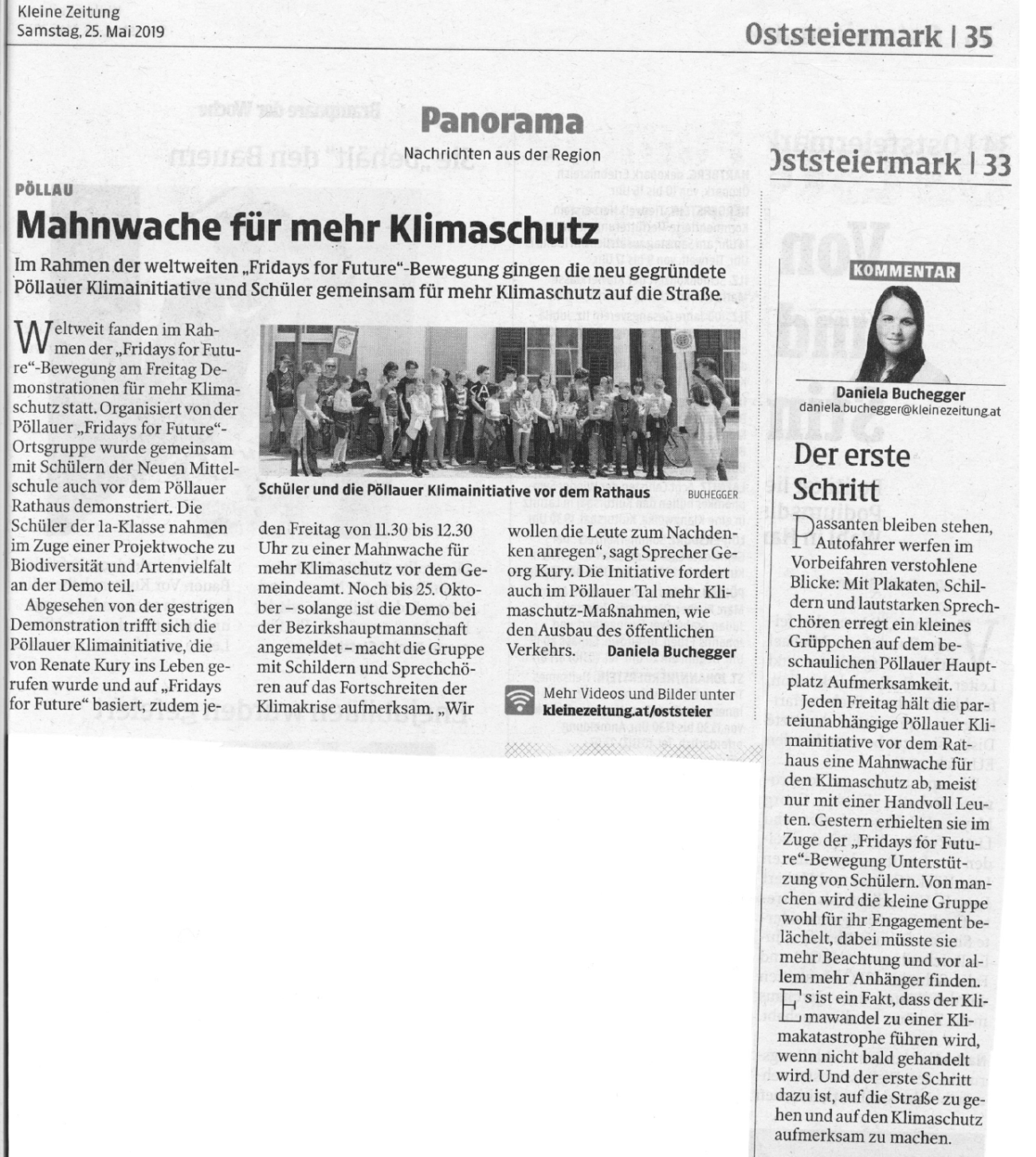 Kleine Zeitung Klimastreik Pöllau